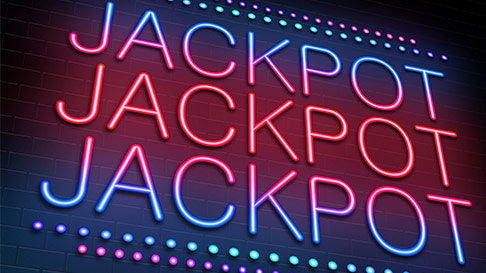 3 rows of the word jackpot in pink and blue neon