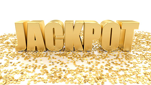Gold 3-D word jackpot on white and gold coin background