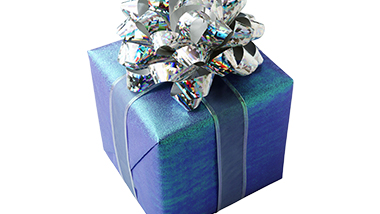 blue gift box with silver bow